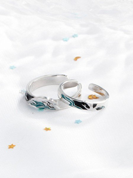 Romantic 925 Sterling Silver Hot Sale Adjustable Couple Rings