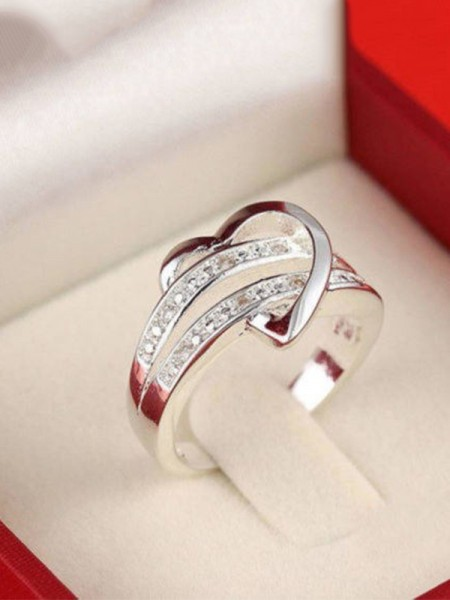 Chic S925 Silver With Rhinestone Hot Sale Wedding Rings