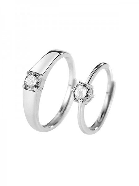 Chic 925 Sterling Silver With Rhinestone Adjustable Couple Rings