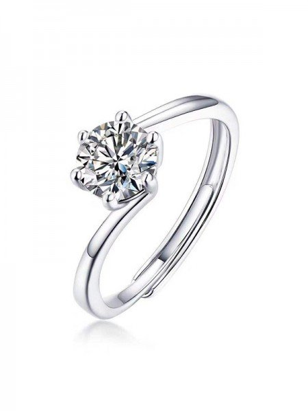 Classic S925 Silver With Mosanite Adjustable Wedding Rings