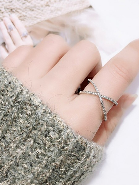 Brilliant S925 Silver With Rhinestone Adjustable Rings