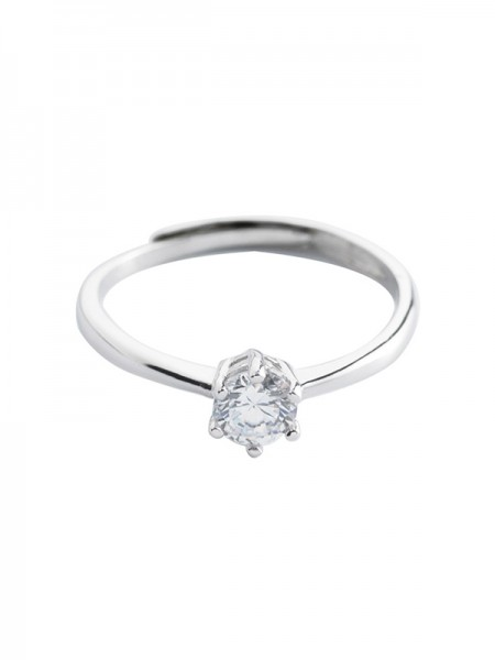 Simple S925 Silver With Zircon Adjustable Wedding Rings