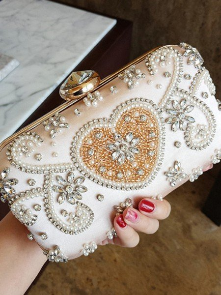 Elegant Nylon Evening/Party Handbags With Rhinestone