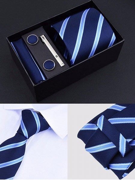 Formal Polyester Tie Tie Clip Cufflinks