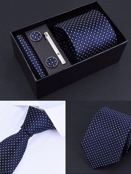 Fashion Polyester Tie Tie Clip Cufflinks