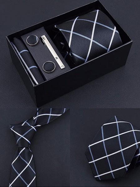 Vintage Style Polyester Tie Tie Clip Cufflinks
