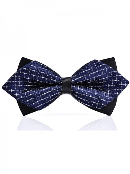 Vintage Polyester Plaid Bow Tie