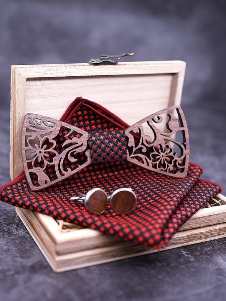 Classic Wood Bow Tie Cufflinks Pocket Square