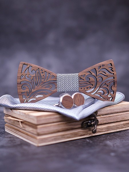 Vintage Wood Bow Tie Cufflinks Pocket Square