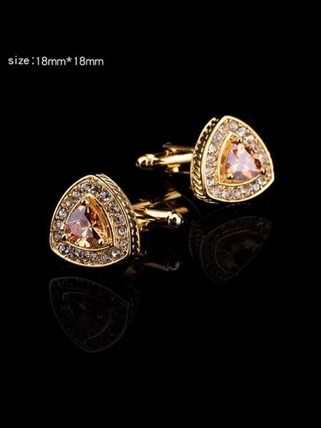 Gorgeous Copper Rhinestone Mens Cufflinks