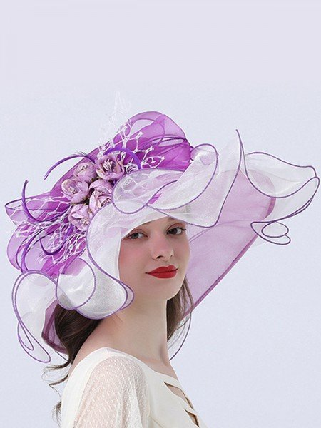 Ladies' Fashion Organza With Flower Floppy Hats/Beach/Sun Hats/Kentucky Derby Hats