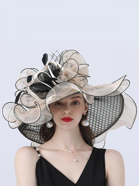 Ladies' Glamorous Organza With Silk Flower Beach/Sun Hats/Tea Party Hats