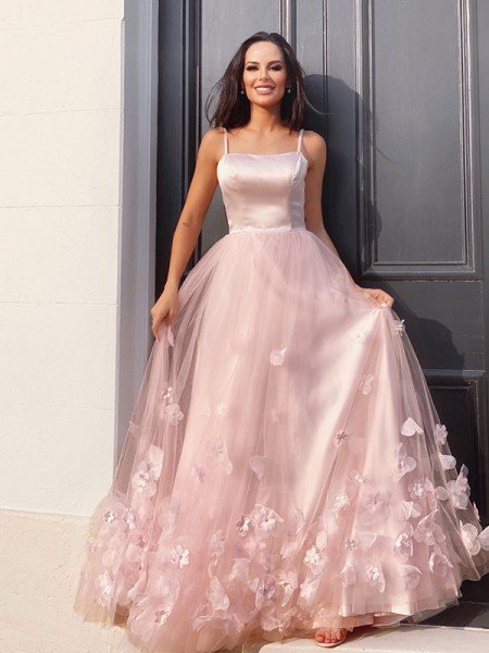 A-Line/Princess Tulle Hand-Made Flower Straps Floor-Length Sleeveless Dresses