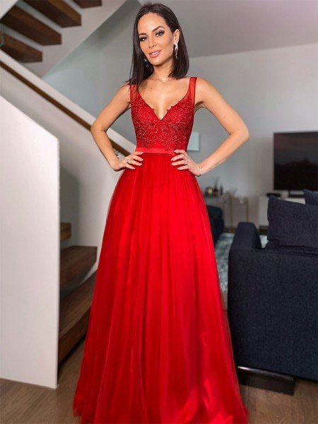 A-Line/Princess Floor-Length Applique V-neck Sleeveless Tulle Dresses