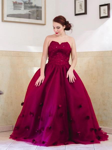 Ball Gown Applique Sweetheart Tulle Sleeveless Floor-Length Dresses