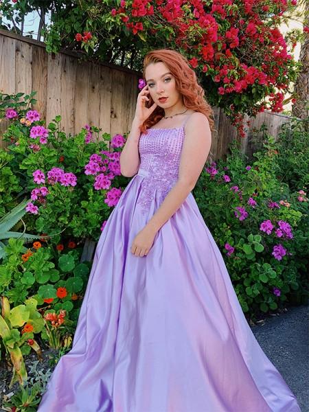 Ball Gown Sleeveless Floor-Length Satin Applique Spaghetti Straps Dresses