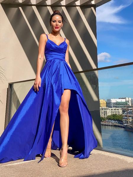 A-Line/Princess V-neck Taffeta Ruffles Sleeveless Asymmetrical Dresses