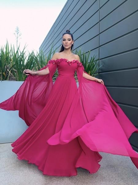 A-Line/Princess Chiffon Floor-Length Long Sleeves Ruffles Off-the-Shoulder Dresses