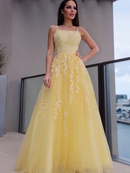 A-Line/Princess Spaghetti Straps Applique Sleeveless Tulle Floor-Length Dresses