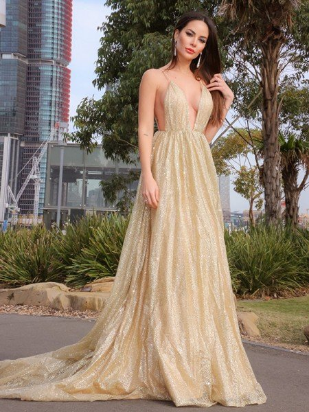 A-Line/Princess Sleeveless V-neck Sweep/Brush Train Ruched Tulle Dresses