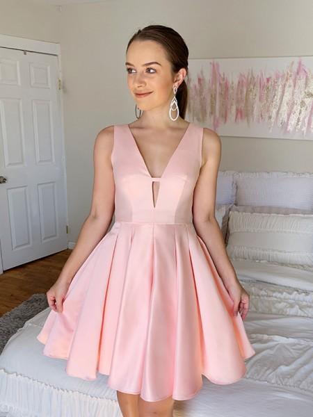 A-Line/Princess V-neck Sleeveless Ruffles Satin Short/Mini Homecoming Dresses