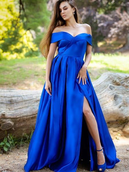 A-Line/Princess Ruffles Satin Off-the-Shoulder Sleeveless Floor-Length Dresses
