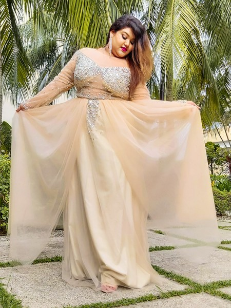 Ball Gown Tulle Long Sleeves Off-the-Shoulder Sequin Floor-Length Plus Size Dresses