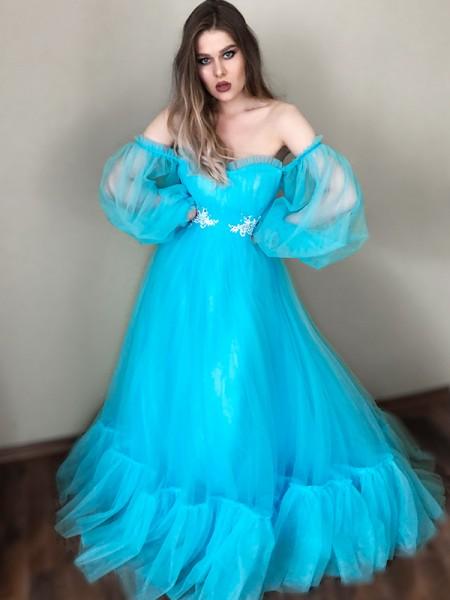 A-Line/Princess Off-the-Shoulder Applique Tulle Floor-Length Long Sleeves Dresses