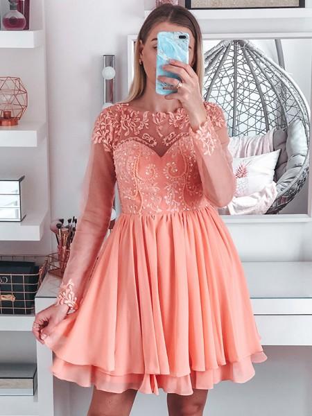 A-Line/Princess Bateau Long Sleeves Short/Mini Applique Chiffon Homecoming Dresses