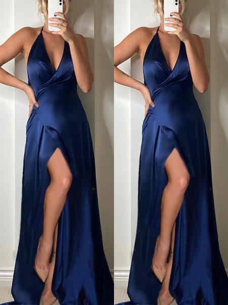 A-Line/Princess V-neck Sweep/Brush Train Ruffles Silk like Satin Sleeveless Dresses