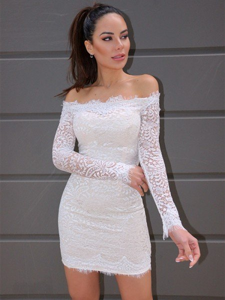 Sheath/Column Long Sleeves Off-the-Shoulder Lace Short/Mini Homecoming Dresses