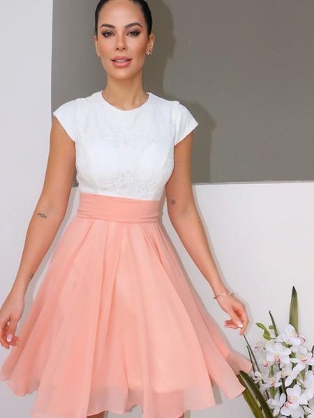 A-Line/Princess Jewel Sleeveless Lace Short/Mini Chiffon Homecoming Dresses