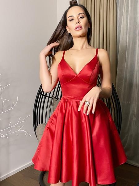 A-Line/Princess V-neck Sleeveless Satin Short/Mini Homecoming Dresses