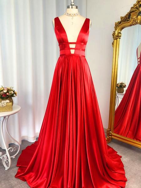 A-Line/Princess V-Neck Sleeveless Sweep/Brush Train Elastic Woven Satin Dresses