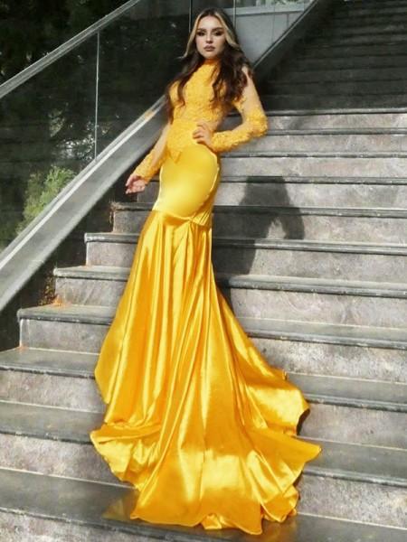 Trumpet/Mermaid High Neck Long Sleeves Sweep/Brush Train Applique Satin Dresses