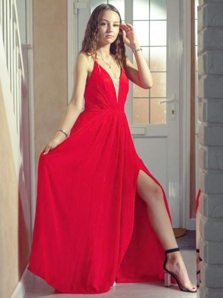 A-Line/Princess V-neck Sleeveless Floor-Length Ruffles Chiffon Dresses