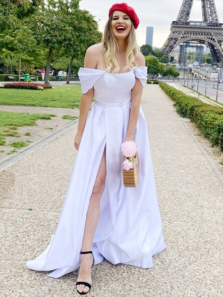A-Line/Princess Sash/Ribbon/Belt Off-the-Shoulder Satin Floor-Length Sleeveless Dresses
