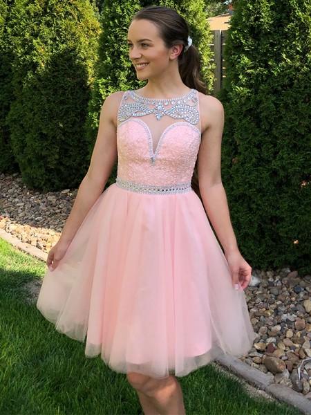 A-Line/Princess Scoop Tulle Sleeveless Beading Short/Mini Homecoming Dresses