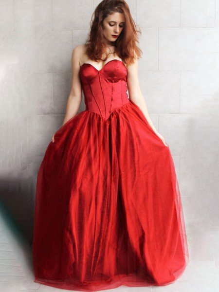 Ball Gown Sleeveless Tulle With Ruffles Sweetheart Floor-Length Dresses