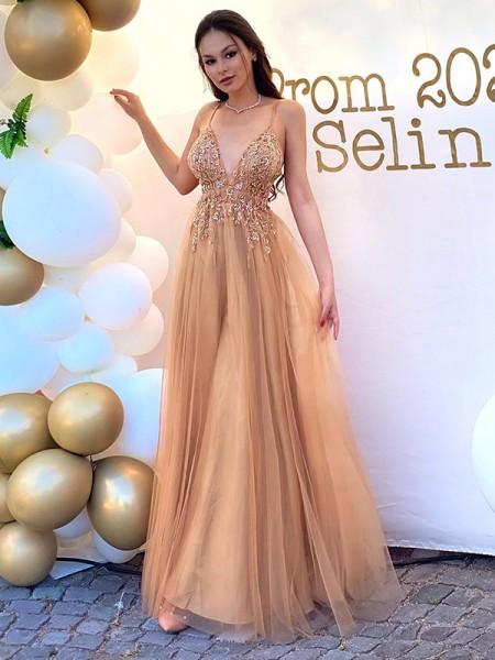 A-Line/Princess Tulle Spaghetti Straps Sleeveless Beading Floor-Length Dresses