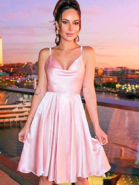 A-Line/Princess Ruffles Spaghetti Straps Satin Sleeveless Short/Mini Homecoming Dresses