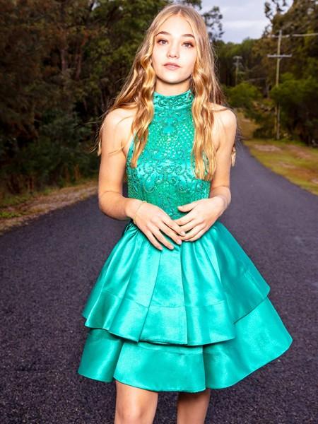 A-Line/Princess Satin Sleeveless Beading Jewel Short/Mini Homecoming Dresses