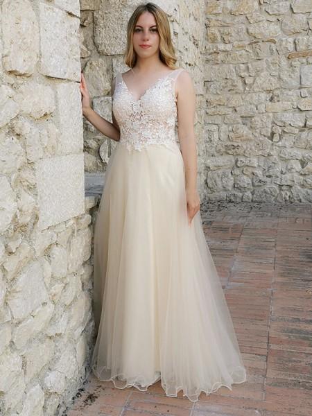 A-Line/Princess Sleeveless Applique Tulle V-neck Floor-Length Dresses
