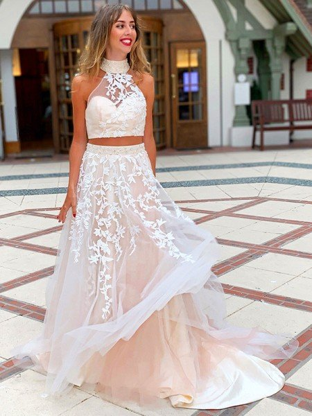 A-Line/Princess Sleeveless High Neck Applique Tulle Sweep/Brush Train Two Piece Dresses