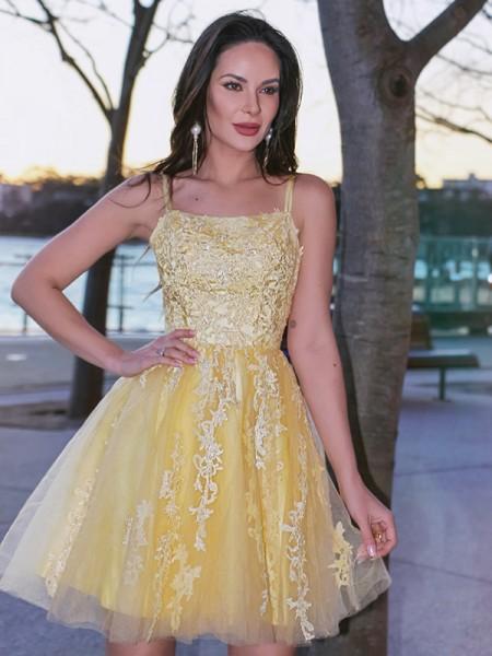 A-Line/Princess Tulle Spaghetti Straps Applique Sleeveless Short/Mini Homecoming Dresses