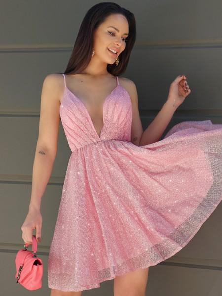 A-Line/Princess Ruched V-neck Sleeveless Short/Mini Homecoming Dresses