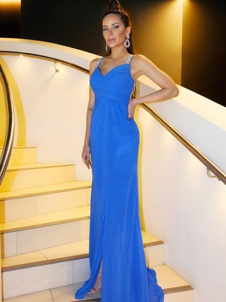 Sheath/Column Sleeveless Chiffon Ruched Straps Floor-Length Dresses