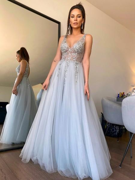 A-Line/Princess V-neck Beading Tulle Sleeveless Floor-Length Dresses