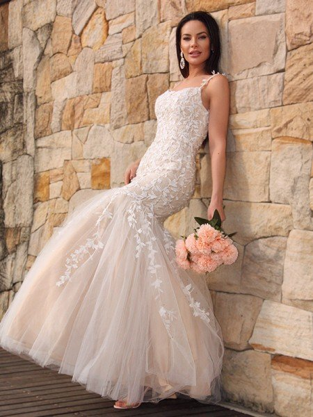 Trumpet/Mermaid Tulle Applique Sleeveless Spaghetti Straps Floor-Length Dresses