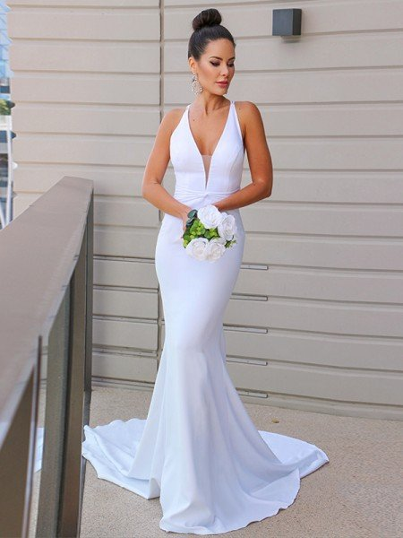 Sheath/Column Stretch Crepe V-neck Ruched Sleeveless Sweep/Brush Train Wedding Dresses